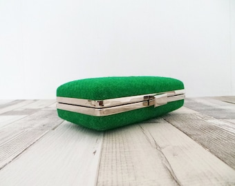 Harris Tweed purse, Box Clutch Purse,  Minaudière purse, Box clutch, prom purse, Harris Tweed Clutch, evening purse, wedding, green purse,