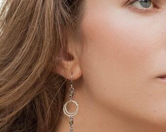 Apatite Earrings, Peridot Earrings, Sterling Silver Dainty Boho Jewelry, Green and Blue Gemstone Earrings, Circle Dangle Earrings