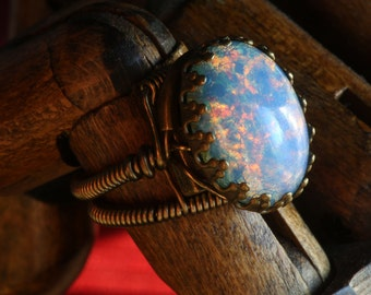 Steampunk Jewelry - Ring -  LOVELY Blue Opal Oval Glass Cabochon (Custom size available - see description)