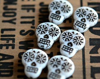 Haunted Faces - Czech Glass Beads, Opaque White, Black Wash, Sugar Skulls 20x17mm - Pc 2