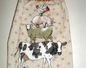 Country Hanging Towel - Crochet Top Towel - Farm Animals Towel - Cow, Sheep, Pig, Rooster Towel - Hanging Kitchen Towel - Dish Towel