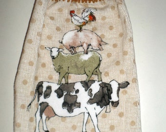 Hanging Kitchen Towel - Crochet Top Towel - Coutry Farm Animals Towel - Cow, Sheep, Pig, Rooster Towel - Hanging Kitchen Towel - Dish Towel
