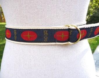 Nautical Motif Belt- Adjustable- Navy Blue Red Gold Ribbon- Cotton Canvas Webbing- Compass Design- Women Kids 26 28 29 Waist- Preppy Boating