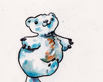 Polar Bear Waking - Cute Art of a Polar Bear by Jen Tracy - Original Watercolor and Ink Poalr Bear Painting