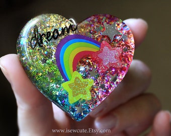 Huge Heart Pendant Necklace, Rainbow Dream Resin Pendant, Rainbow Colorful, Large Statement Necklace Big Heart Pendant, Handmade isewcute