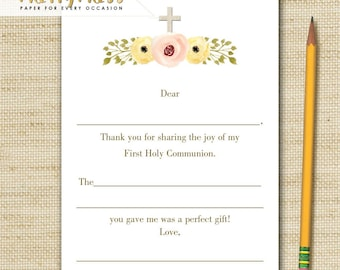 FIRST HOLY COMMUNION Note Cards, Girls Communion Note Cards - 10 fill in the blank cards with envelopes, printed with eco friendly soy ink