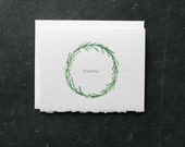 Thankful ROSEMARY WREATH Card and Envelope, Blank Interior, Post-Consumer Recycled Paper, Thank you