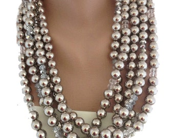 Weddings Crystal and Silver Pearl Necklace brides, bridesmaids gifts