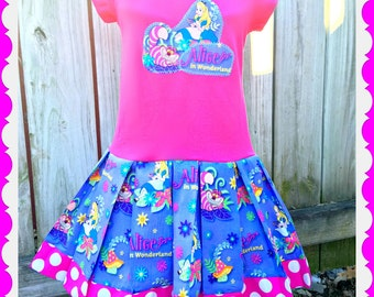 girls Alice in Wonderland dress Cheshire cat dress 2T 3T 4T 4/5 6/6X 7/8 10/12 and 14/16 ready to ship