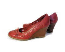 70s Red Leather High Heel Wedges 8, Boho Wedges, Stacked Wood Heel Wedges, Seychelles Shoes Size 8