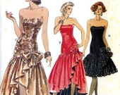 Vogue 7644 Prom Evening Salsa Dress Strapless Dropped Waist Shaped Hemline Size 6 8 10 Uncut Vintage Sewing Pattern 1989