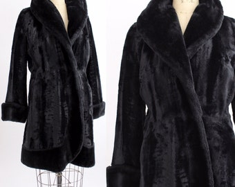 1960s Faux Fur Coat | Vintage Czarina Plush Princess Coat | Black Faux Fur Winter Coat | M-L