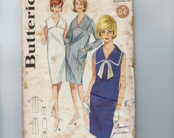 1960s Vintage Sewing Pattern Butterick 3102 Misses Sailor Middy Nautical Dress Two Piece Skirt Size 14 Bust 34 60s