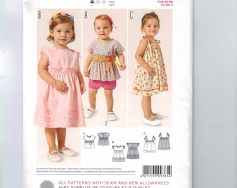 Sewing Pattern Burda 9385 Easy Girls Dress Top Ruffled Shirt Size 6 9 12 18 Months Toddler 2 3 2T 3T UNCUT