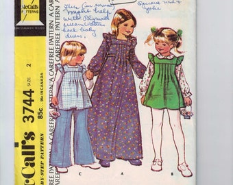 1970s Vintage Girls Sewing Pattern McCalls 3744 Dress Pinafore Jumper Pants Bicentennial Toddler Size 2 Breast 21 1973 UNCUT