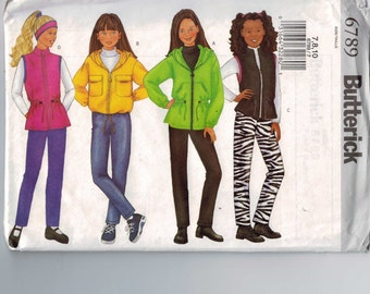 Girls Sewing Pattern Butterick 6789 Girls Zip Front Fleece Jacket Vest Pants Headband Easy Size 7 8 10 Breast 26 27 28 29 UNCUT  99