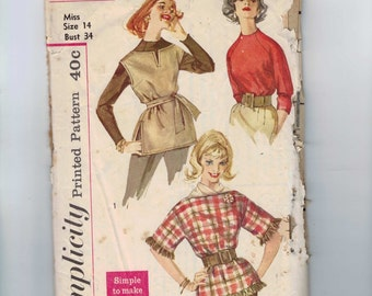 1950s Vintage Sewing Pattern Simplicity 3600 Blouse Top Shirt and Ponchos Size 14 Bust 34 50s