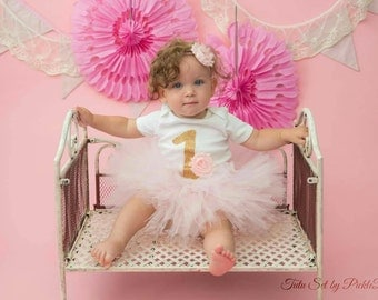 Pink and Gold Cake Smash Outfit Girl, First Birthday Outfit Girl, 1st Birthday Tutu, 1st Birthday Outfit Girl, SEWN Pink Tutu Skirt Set