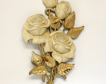 Syroco Gold & Cream Rose Wall Plaque