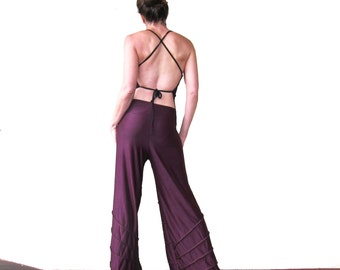 Sleek Spider Dance Pants - Plum - High Waisted, Wide Leg, Eco Upcycled Festival Fashion