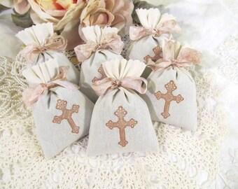 Cross Lavender Mini Sachet Shower Favor with ribbons - Set of Six - Choose Ribbon Color - Christening Baptism Christian Favor