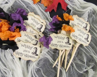 Halloween Witch Hat Cupcake Toppers or Favor Tags - Set of 18 - Happy Halloween All Hallows Eve