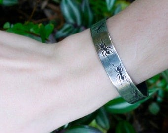 Handmade Sterling Silver Ant Cuff Bracelet, Ant Jewelry, Ant Bracelet, Insect Cuff Bracelet, Insect Jewelry, Entomology Jewelry