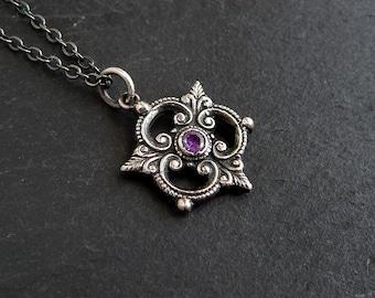 Gothic Trefoil Necklace: Sterling Silver, purple CZ, medieval jewelry, renaissance pendant, PMC, art nouveau pendant, openwork filigree