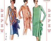 Vintage Sewing Pattern Reproduction Ladies' 1920's Evening or Day Dress #3062 - Full Sized PAPER VERSION