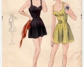 """Vintage Sewing Pattern 1950's Ladies' One-Piece Bathing Suit Vogue 6954 Size 34"""" Bust - Free Pattern Grading E-book Included"""