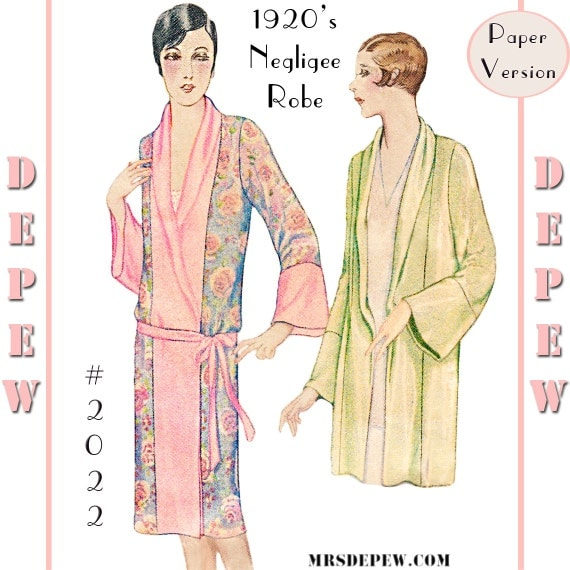 Vintage Inspired Nightgowns, Robes, Pajamas, Baby Dolls Vintage Sewing Pattern Reproduction 1920s Kimono Negligee Robe #2022 Multi-Size- PAPER VERSION $23.50 AT vintagedancer.com