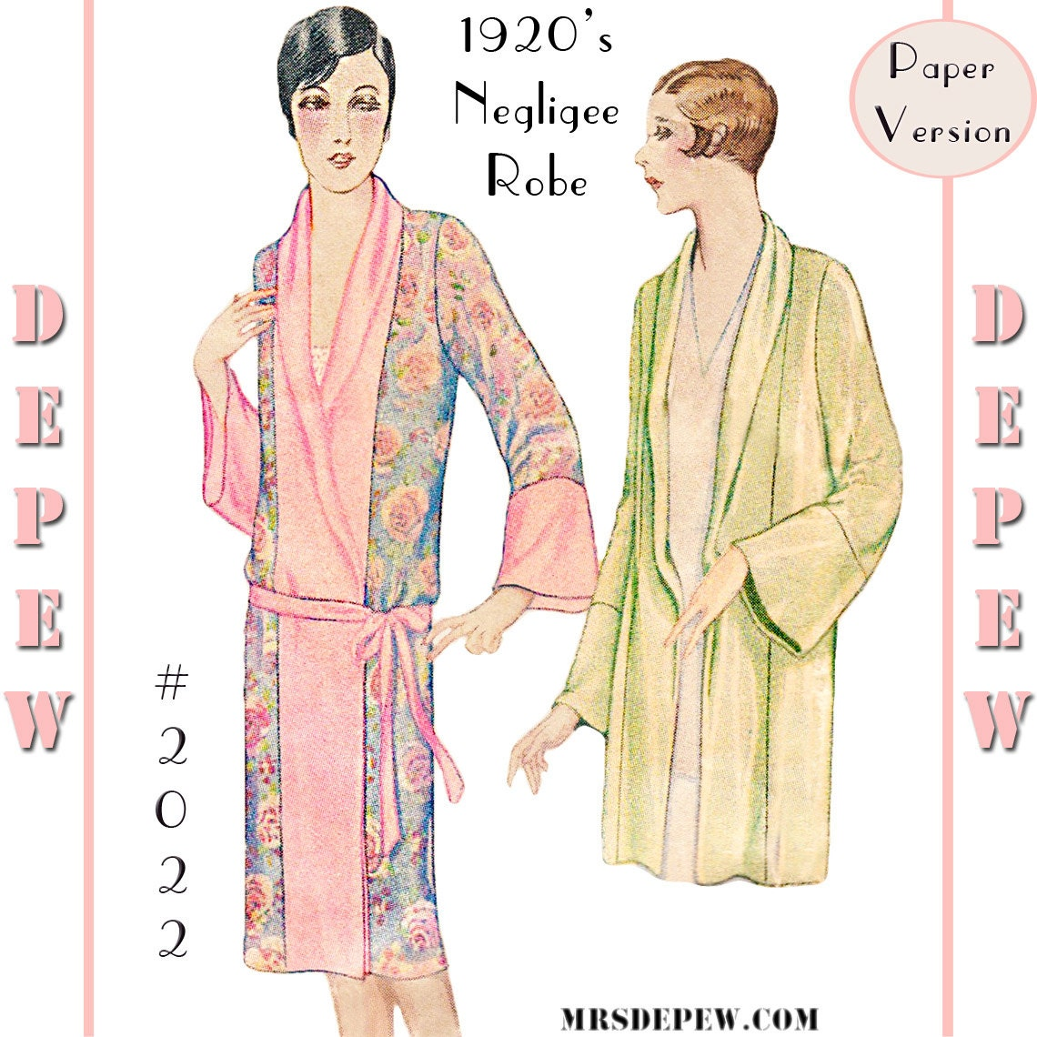 vintage sewing pattern reproduction 1920 s kimono negligee