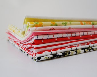 Vintage Sheets 12 Twelve Inch Squares Super Bright Black Red Yellow Pink Pack