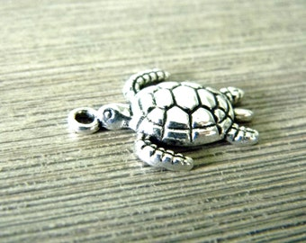 Sea Turtle Charms Set of 10 Silver Color 23x18mm