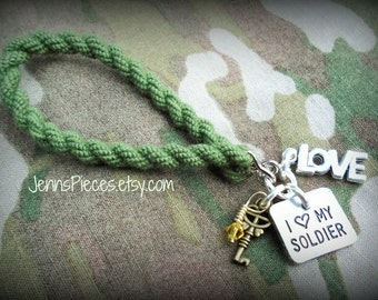I Love My Soldier or Airman Air Man Air Force Army Wife Fiancee BOOT BAND Bracelet Ssg27 airforce air force usaf military National Guard
