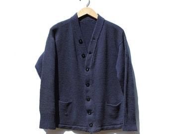 Vintage navy Blue Knitting Cardigan Sweater