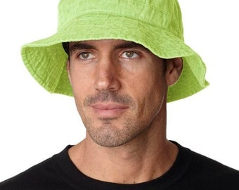 LIME GREEN XL Bucket Hat - Women or Men Adams Cap - Price Apparel Embroidery - 10 Different Colors