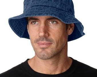 NAVY BLUE XL Bucket Hat - Women or Men Adams Cap - Price Apparel Embroidery - 10 Different Colors