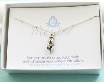 Mentor Gift • Crossed Fingers Necklace • Gift For Teacher • Fingers Crossed Charm • Lucky Necklace • Coach Gift • Mentor Thank You