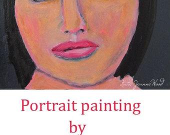 Acrylic Portrait Art Painting. Woman Portrait Painting. Whimsical Wall Decor.