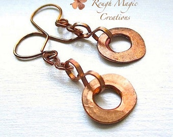 Raw Copper Earrings, Boho Rustic Primitive Industrial Metal, Hammered Copper, Eco Friendly Bohemian Statement, Edgy Artisan Jewelry E216