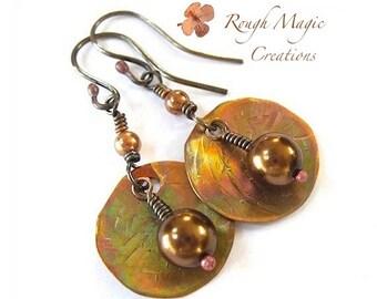 Copper Dangle Earrings Pearl Drop Earrings. Large Boho Dangles. Hammered Copper Primitive Jewelry. Rustic Earrings. Womens Bohemian Jewelry