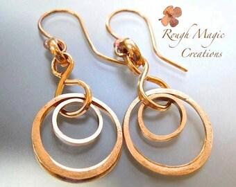 Rustic Copper Earrings. Ring Dangles. Double Circle Abstract Earrings. Solid Copper Industrial Metal. Rough Magic Geometric Earrings
