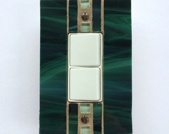 Dark Green Decora Wall Plate, Decorative Light Switch Cover, Hunter Green Stained Glass Switchplate, Electrical Outlet Cover, 8312