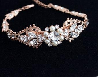 Wedding Bracelet Rose Gold Bridal Crystal Cuff Pearl Bracelet Bridal Jewelry Bridal Bracelet Wedding Bracelet PARIS CUFF BRACELET