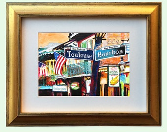 "New Orleans Gold Framed Art ""French Quarter"" 12.25 x 10.25"" and 16.25x13.25"" Matted Print Signed and Numbered"