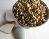 gold  ceramic seed beads , mini small matte opaque ceramic beads,  rondelle tube  delicate spacer  3mm dia  ( 10 grams bag ) 6asmr3-2