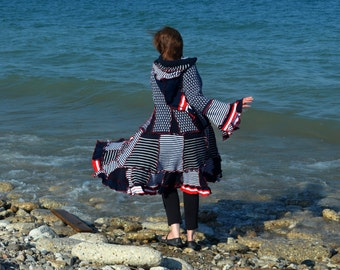 Bitsy 2X frankensweater nautical wool free upcycled hoodie gypsy coat sweater 87