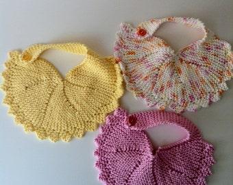 Hand-knit Girly Baby Bibs
