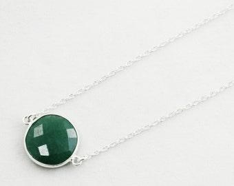 Green Emerald Necklace Sterling Silver Bezel Genuine Emerald Necklace Real Emerald May Birthstone Precious Emerald Jewelry BZ-N-106-Em/s